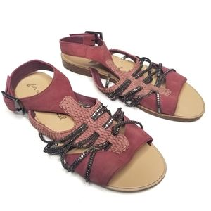 7FAM Leather Gladiator Snakeskin Sandals Chains 8